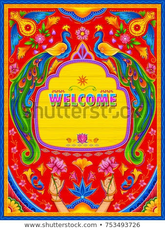 Сток-фото: Colorful Welcome Banner In Truck Art Kitsch Style Of India