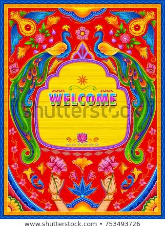 colorido · bienvenida · banner · camión · arte - foto stock © vectomart
