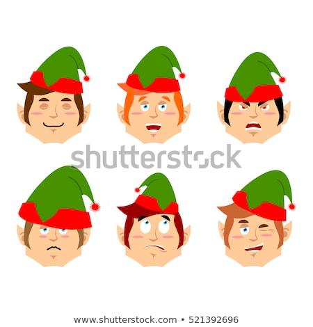 Christmas Elf angry Emoji. Santa helper aggressive emotion . Stock photo © popaukropa