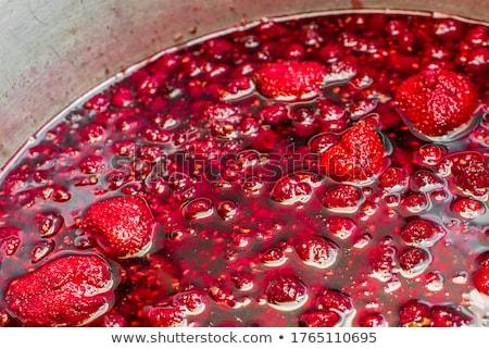 üveg eper étel gyümölcs csoport édes Stock fotó © Digifoodstock