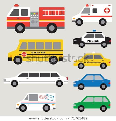 Carro desenho animado conjunto carro de bombeiros polícia ambulância Foto stock © MaryValery