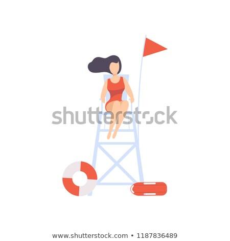 女性 ライフガード 塔 夏 雲 保護 ストックフォト © IS2