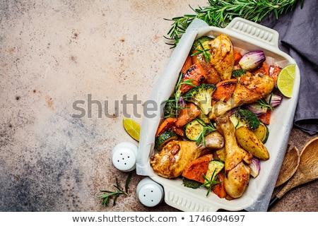 Foto stock: Frango · em · batata · comida · jantar