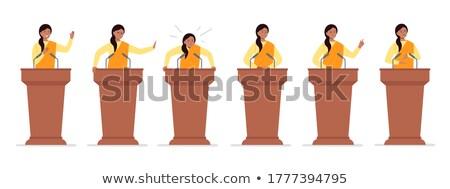 Indian businessman speech on tribune Stock photo © studioworkstock