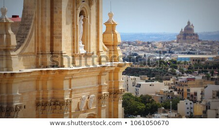 aeriel view of city victoria or rabat and fragment of gozo cathedral victoria gozo malta stock photo © virgin