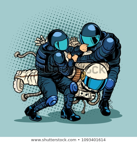regression and progress concept, police arrested the astronaut Stock photo © studiostoks