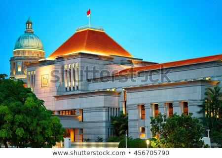 Singapur parlamento Bina gece görmek gökyüzü Stok fotoğraf © joyr