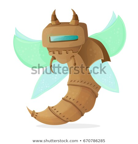 Cartoon clip art illustration of a robot wasp or bee - Steampunk style Stock photo © Natali_Brill