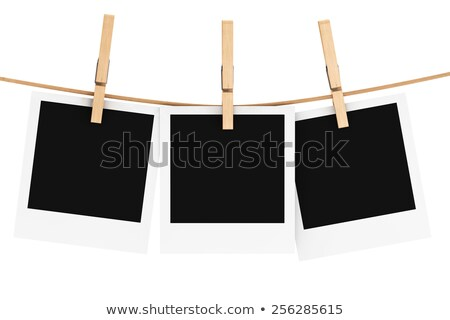 Clothes pin and blank photo paper hanging on rope 3D Stock photo © djmilic