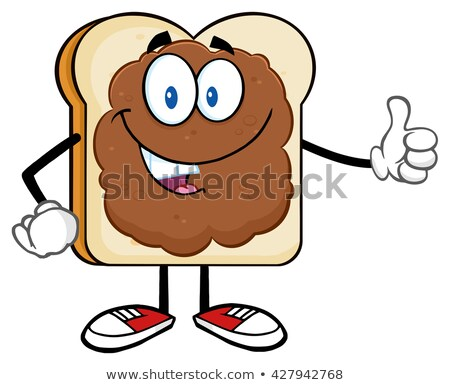 Smiling Bread Slice Cartoon Character With Peanut Butter Giving A Thumb Up Stock photo © hittoon