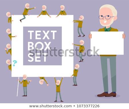 Yellow Ocher knit old man White_text box Stock photo © toyotoyo