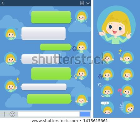 blond hair girl sns window stock photo © toyotoyo