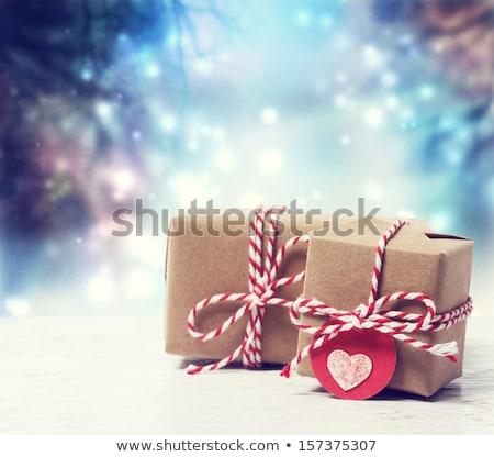 christmas · aanwezig · vak · gouden · sneeuwvlokken · zwarte - stockfoto © odina222