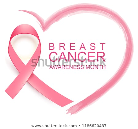 national breast cancer awareness month poster pink ribbon text and heart shape stock photo © orensila