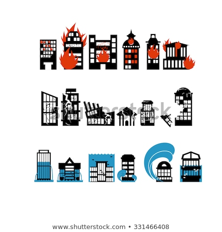 Silhouettes of buildings from natural disasters. Destruction of  Stock photo © popaukropa