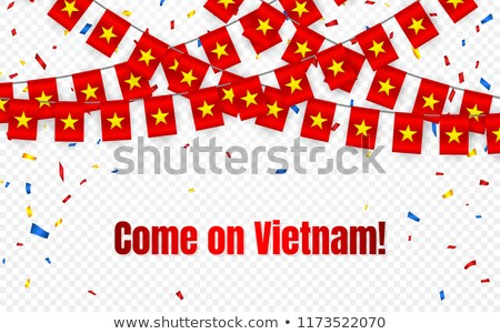 Vietnam garland flag with confetti on transparent background, Hang bunting for celebration template  Stock photo © olehsvetiukha