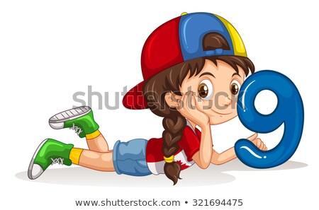 Meisje aantal negen illustratie abstract Stockfoto © bluering