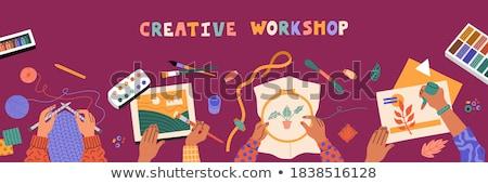 Handgemaakt workshop lijn website design banner sjabloon Stockfoto © Anna_leni