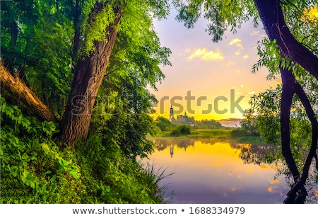 Kırsal gündoğumu yansımalar göl hüzün ülke Stok fotoğraf © lovleah