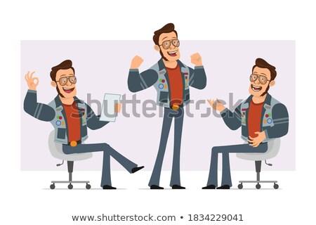 Cartoon discoteca ragazzo seduta illustrazione uomo Foto d'archivio © cthoman