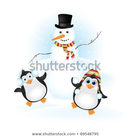 Spelen sneeuw afbeelding gelukkig berg kunst Stockfoto © clairev