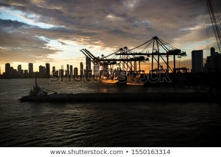 Portu noc antena Fotografia budynku wygaśnięcia Zdjęcia stock © benkrut