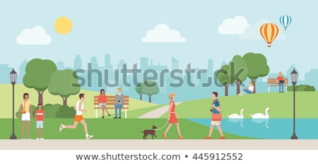 Vector vrouw jogging park hond bank Stockfoto © tele52