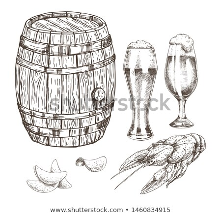 Wooden Keg Beer Goblets and Appetizer Graphic Art Stock photo © robuart