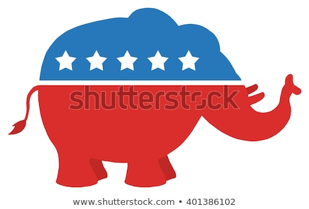 Republikein olifant cartoon Blauw cirkel label Stockfoto © hittoon