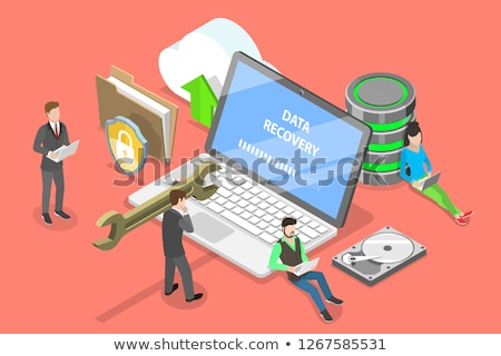Isometric flat vector concept of data recovery services, data backup. Stock photo © TarikVision