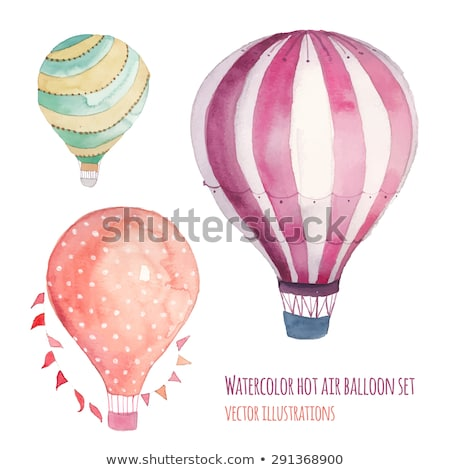 isolated kids in hot air balloon stock photo © bluering