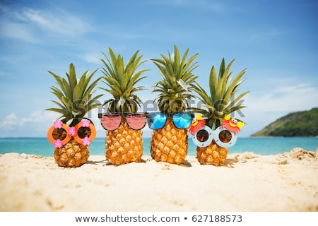 Stockfoto: A Pineapple Boy And Pineapples On Vacation