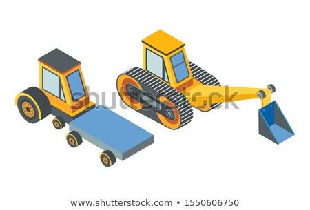 escavadora · detalhado · imagem · isolado · branco · construção - foto stock © robuart