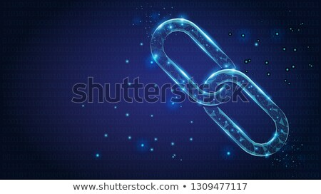 abstract chain links low poly consisting of points lines and shapes on dark blue background vecto stock photo © marysan