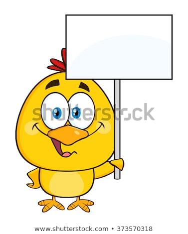 Smiling Yellow Chick Cartoon Character Holding A Happy Easter Sign Stock photo © hittoon