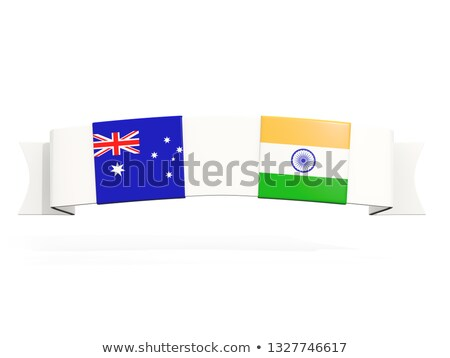 Banner with two square flags of Australia and india Stock photo © MikhailMishchenko