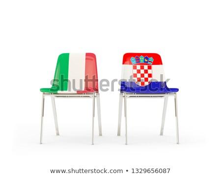 Kettő székek zászlók Olaszország Horvátország izolált Stock fotó © MikhailMishchenko