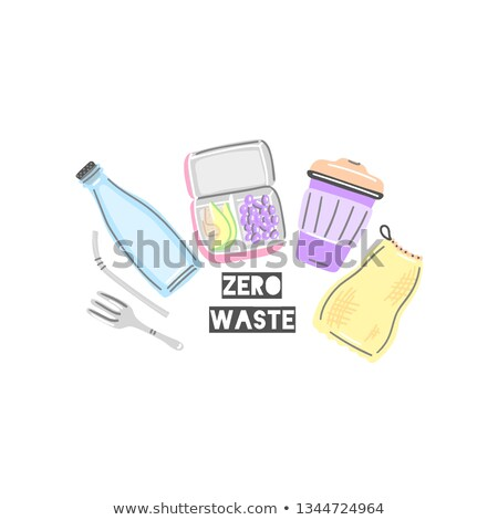 glass bottle lunchbox thermocup metal straw and fork cloth bag healthy snack picnic food zero stock photo © user_10144511