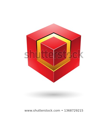 Red Bold Cube with Glowing Core Vector Illustration Stock photo © cidepix