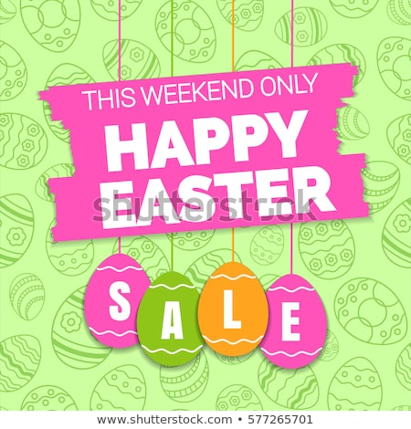 Stock photo: Happy Easter Eggs Vintage Banner Price Stickers Sale