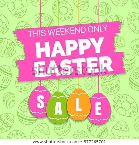 Kellemes húsvétot tojások klasszikus szalag ár matricák Stock fotó © limbi007