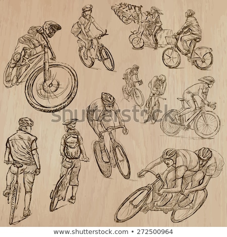 hand drawn sketch color racer set stock photo © netkov1
