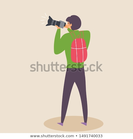 cameraman taking photo on device with zoom vector stock photo © robuart