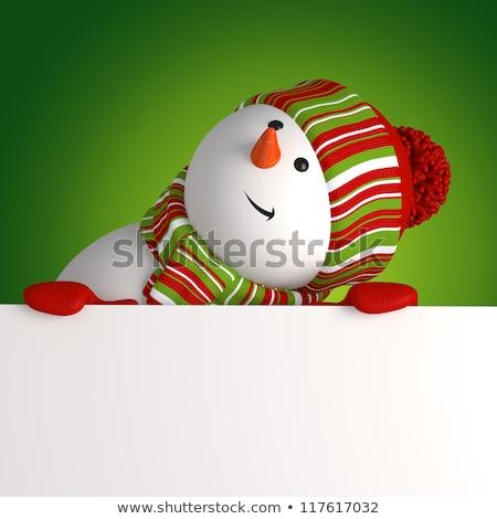 Heiter Weihnachten Postkarte Schneemann hat Stock foto © robuart