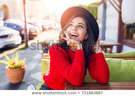 mooie · meisje · hoed · vergadering · cafe - stockfoto © deandrobot