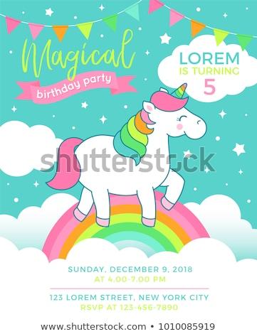 unicorn and rainbow on sky template stock photo © colematt