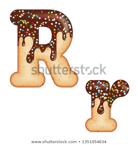 Tempting typography. Font design. 3D donut letter R glazed with  Stock photo © balasoiu