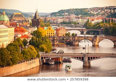 Prague République tchèque pont aube ciel maison Photo stock © Givaga