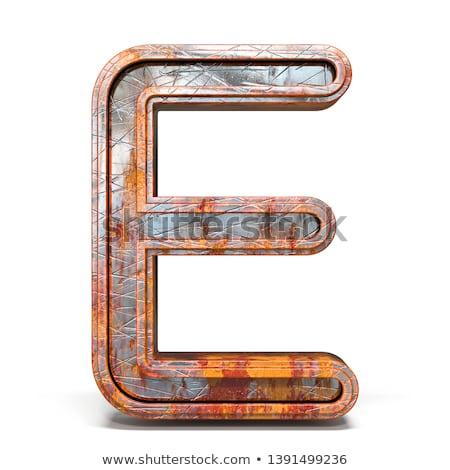 Rozsdás fém betűtípus e betű 3D 3d render Stock fotó © djmilic
