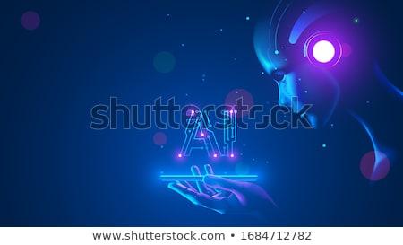 humanoid robot hand smarthone human brain stock photo © limbi007